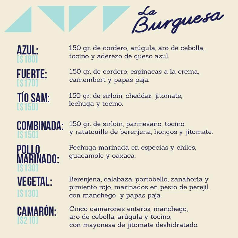 La Burguesa Menu