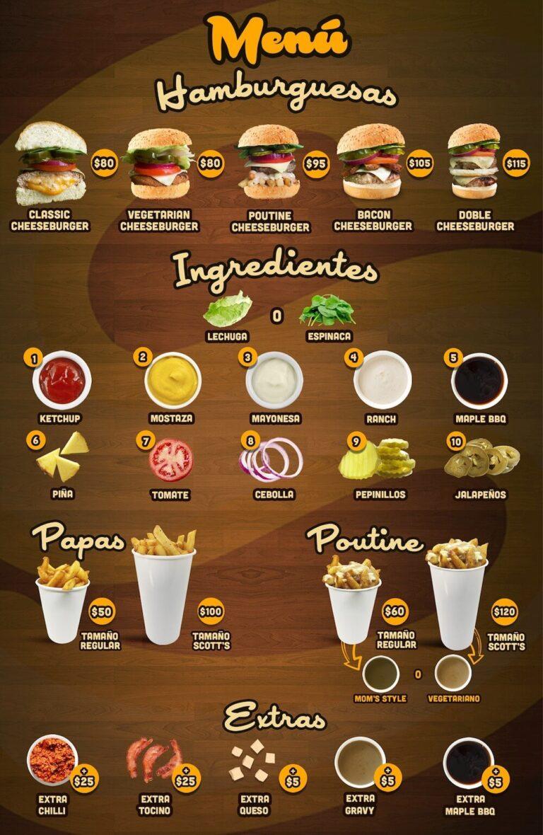 Scott's Burger Menu